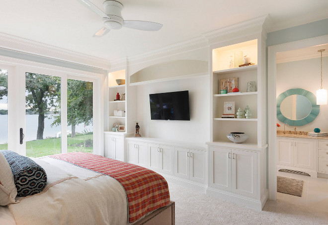 Bedroom Built in Cabinet. Cabinets are custom built painted in Benjamin Moore OC-17 White Dove. #BenjaminMooreOC17WhiteDove #bedroomcabinet #bedroom #cabinet Stonewood LLC. Studio M Interiors. Spacecrafting Photography
