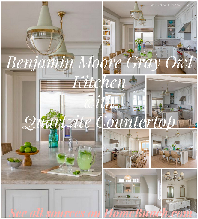 Benjamin Moore Gray Owl Kitchen with Quartzite Countertop. Benjamin Moore Gray Owl Kitchen with Quartzite Countertop Ideas, pictures and Design Tips. #BenjaminMoore GrayOwl Kitchen #QuartziteCountertop