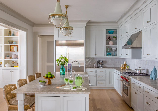 Benjamin Moore Gray Owl Kitchen. This welcoming and approachable kitchen feature flat panel inset door cabinets painted in Benjamin Moore OC-52 Gray Owl. This is really a wonderful grey color for cabinets and I've recommend it to my own clients many times. You really can't go wrong with it! #BenjaminMooreGrayOwlKitchen #BenjaminMooreGrayOwl #Kitchen #BenjaminMooreOC52GrayOwl #BenjaminMooreOC52 #BenjaminMoore #OC52 #GrayOwl #BenjaminMoorePaintColors Main Street Kitchens at Botellos