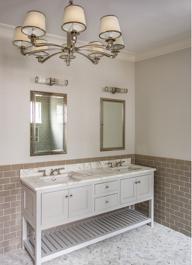 Benjamin Moore Pale Oak OC-20. Benjamin Moore Pale Oak OC-20 Soft Gray Paint Color. This bathroom features a light gray cabinet painted in Benjamin Moore Pale Oak OC-20. Benjamin Moore Pale Oak OC-20 #BenjaminMoorePaleOakOC20 #PaleGray #Paintcolor #BenjaminMoorePaleOak #BenjaminMooreOC20 #BenjaminMooreGrayPaintcolor #BenjaminMoorepaintcolor Main Street Kitchens at Botellos
