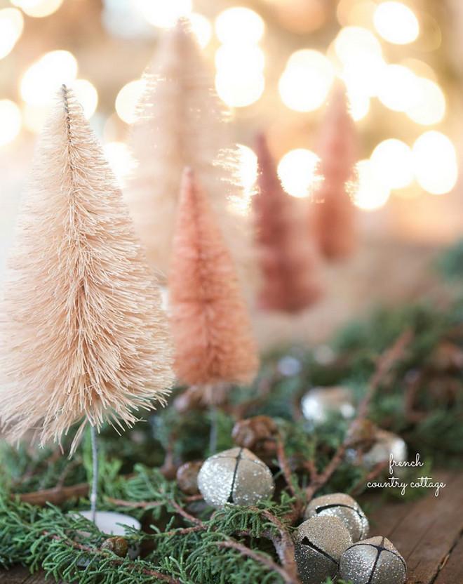 Blush Pink Christmas Decor. Simple and sweet vintage style bottlebrush trees. #BlushPinkChristmasDecor #BlushPinkChristmas #BlushPinkChristmasIdeas #BlushPinkChristmas French Country Cottage via Instagram @frenchcountrycottage