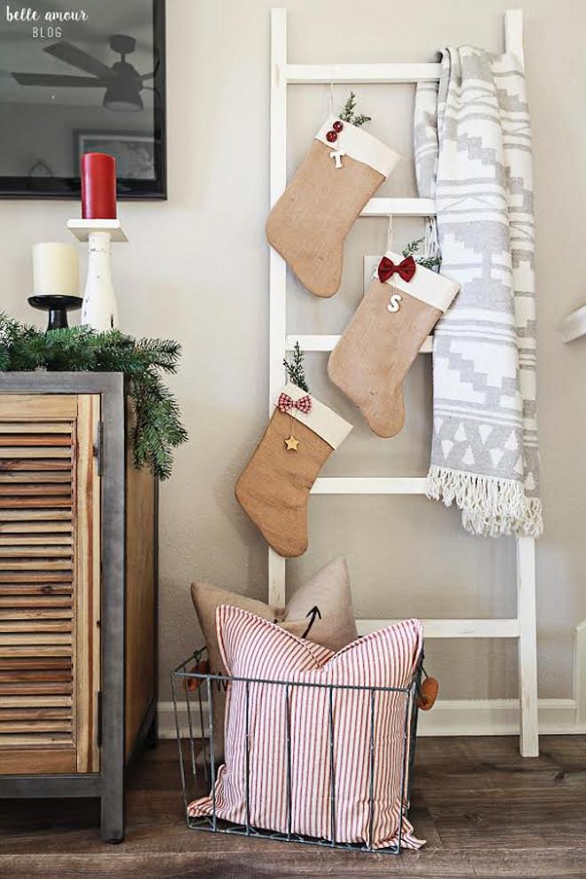 Burlap Stockings. Burlap Christmas Stockings. Farmhouse Burlap Christmas Stockings. Burlap Christmas Stockings #BurlapChristmasStockings #FarmhouseBurlapChristmasStockings Belle Amour Blog