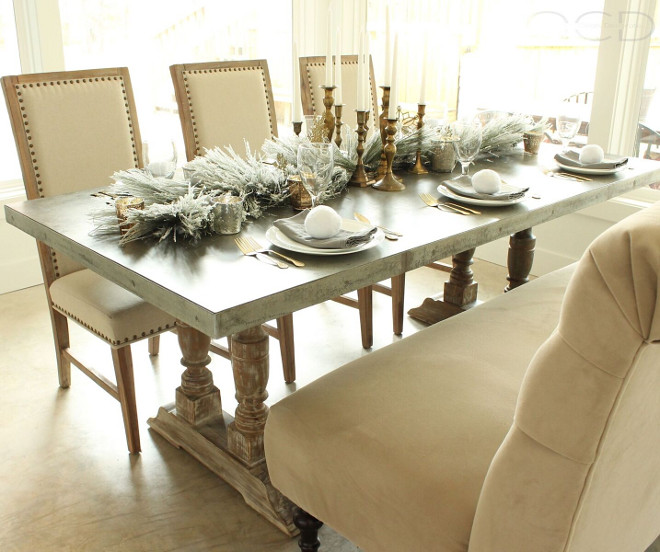 Dining Room. How beautiful! The neutral Christmas decor works perfectly with the furnishings. Table is from Laurie's Home Furnishings. Chairs and bench are from World Market . Dining Room. Dining Room <Dining Room> #DiningRoom Beautiful Homes of Instagram organizecleandecorate