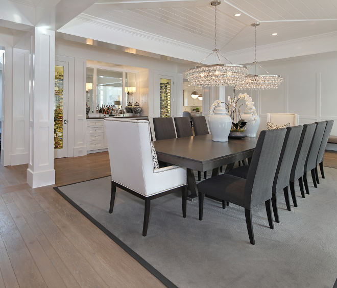 Dining room millwork. Dining room millwork ideas. The dining room features a pair of Robert Abbey Bling 6 Light Chandeliers by Circa Lighting. Dining room millwork. <Dining room millwork> #Diningroommillwork #Diningroom #millwork Brandon Architects, Inc