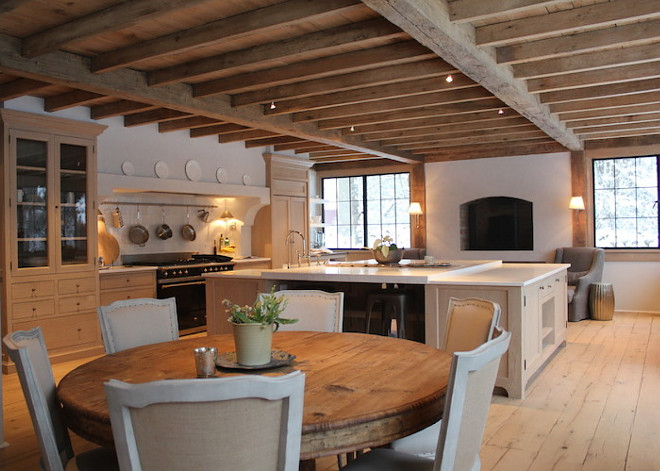 European Kitchen. European Kitchen Design. European Kitchen Reclaimed wood floors, reclaimed wood ceiling beams. European Kitchen. European Kitchen #EuropeanKitchen Mark P. Finlay Architects, AIA