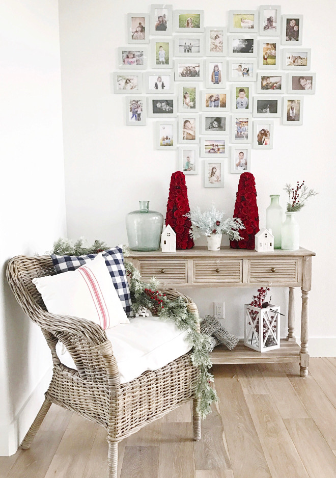 Farmhouse Christmas Home Decor. The heart photo gallery was made with Ikea frames painted in white. Farmhouse Christmas Home Decor Ideas. Farmhouse Christmas Home Decor. #Farmhouse #Christmas #HomeDecorIdeas #DecorIdeas Instagram Beautiful Homes of Instagram @NC_HomeDesign