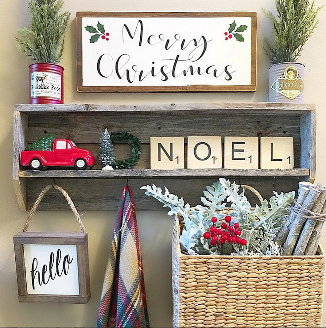 Farmhouse Mudroom Christmas Decor. Farmhouse Mudroom Christmas Ideas. Farmhouse Mudroom Christmas Decor Ideas #FarmhouseMudroomChristmasDecor #FarmhouseMudroomChristmasDecorIdeas #FarmhouseMudroomChristmasIdeas Aly McDaniel via Instagram @thedowntownaly