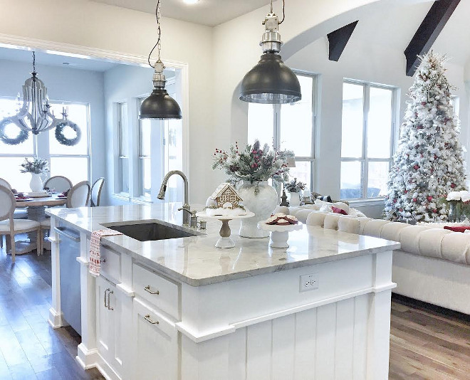 Kitchen Island paint color. Kitchen Island countertop. Kitchen island countertop is Superwhite Quartzite. Kitchen Island paint color is Sherwin Williams Pure White. #kitchenisland #countertop #Superwhite #quartzite #kitchenislandpaintcolor #SherwinWilliamsPureWhite #MagnoliaMarket MyTexasHouse