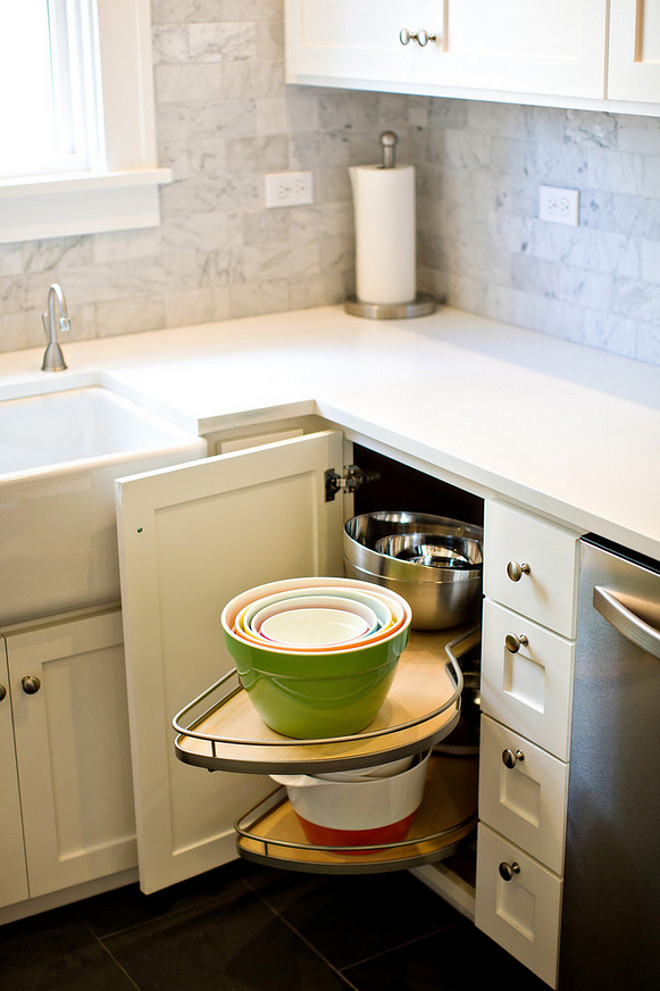 Kitchen Cabinet Lazy Susan Storage. Kitchen Cabinet Lazy Susan Storage Ideas. This lazy susan makes efficient use of the darkest corners, and allows homeowners to shed light on stored items! Introspecs LLC. Photos by Boone Rodriguez.