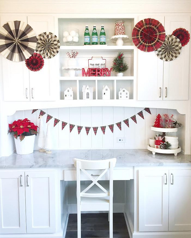 Kitchen Desk Decorated for Christmas. Great kitchen desk layout beautifully decorated for Christmas. Kitchen Desk Decorated for Christmas. #KitchenDesk #Christmas MyTexasHouse