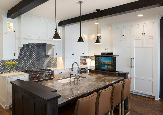 Kitchen island. Dark stained island. Island Cabinets: Rift Red Oak- Pepper Corn, Custom Stain. #Kitchenisland #darkisland Stonewood LLC. Studio M Interiors. Spacecrafting Photography