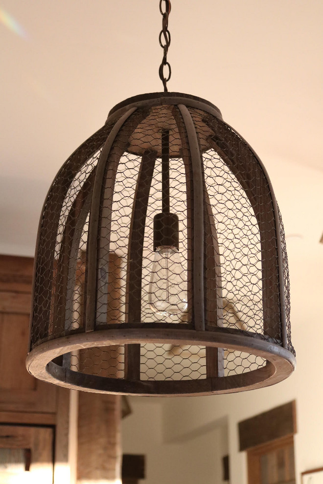 Chicken Wire Lighting. Chicken wire light fixtures provide farmhouse whimsy. This rustic lighting is from Shades of Light. Rustic Lighting #Chickenwirelightfixture #farmhouse #Rusticlighting #Chickenwirelighting #ShadesofLight Home Bunch's Beautiful Homes of Instagram @birdie_farm