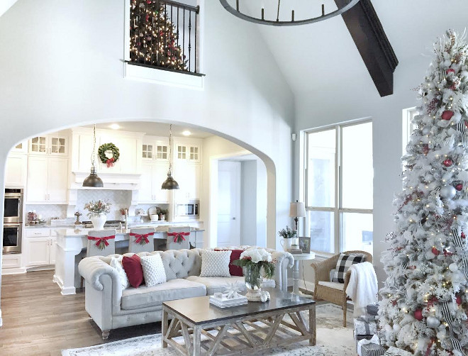 Open concept color palette. Open concept color palette ideas. Open concept color palette with neutral furniture, neutral paint color, neutral accessories and pops of color during Chritsmas. #Openconceptcolorpalette #Openconcept #colorpalette MyTexasHouse