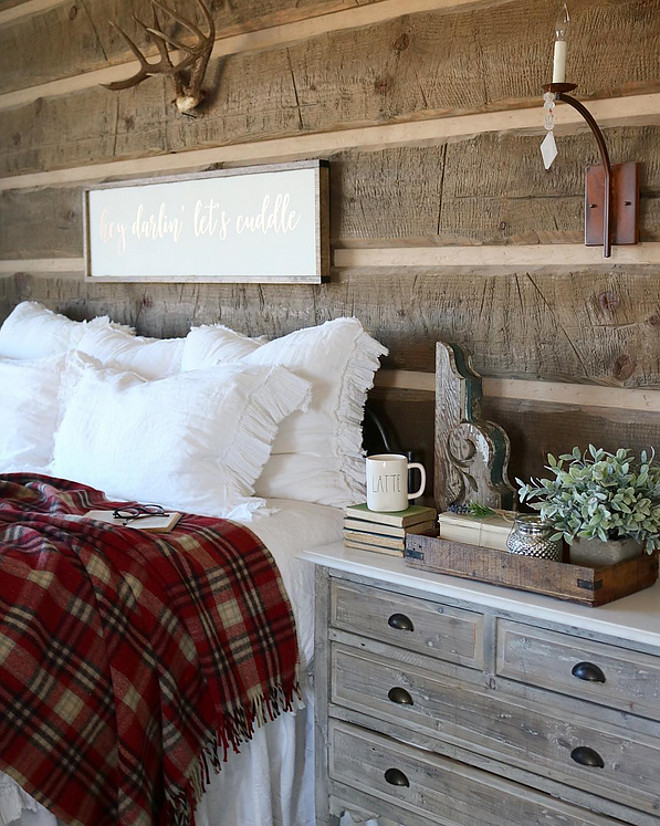 Rustic Bedroom. Rustic Bedroom Ideas. Rustic Bedroom Furniture. Rustic Bedroom Bedding. Rustic Bedroom Plaid. Rustic Bedroom #RusticBedroom #RusticBedroomPlaid #Plaid #RusticBedroomFurniture Home Bunch's Beautiful Homes of Instagram @birdie_farm