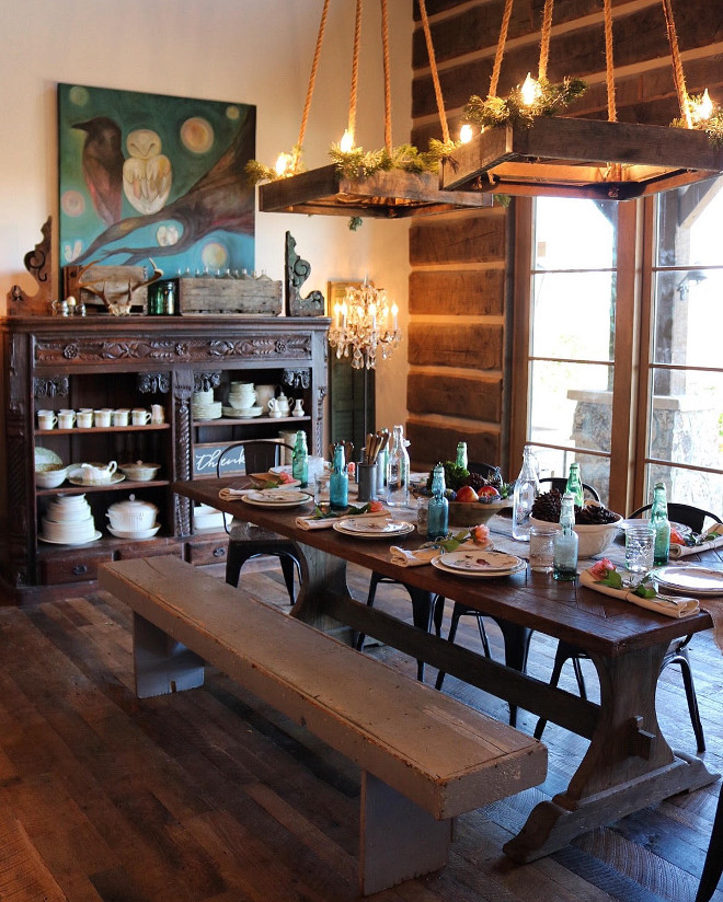 Rustic Dining Room. Rustic Dining Room Design. #RusticDiningRoom #RusticDiningRoomDesign #RusticDiningRoomIdeas Home Bunch's Beautiful Homes of Instagram @birdie_farm