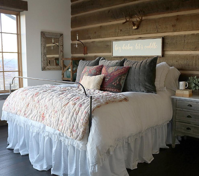 Rustic Farmhouse Bedroom. Rustic Farmhouse Master Bedroom. #RusticFarmhouseBedroom #RusticBedroom #FarmhouseBedroom #FarmhouseMasterBedroom Home Bunch's Beautiful Homes of Instagram @birdie_farm