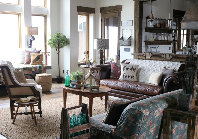 Rustic farmhouse living room. Rustic farmhouse living room furniture Floral sofa: Rachel Ashwell. Leather Sofa: Anthropologie. Found antique tea table/coffee table. #Rusticfarmhouselivingroom #RusticfarmhouselivingroomFurniture #farmhouselivingroomFurniture #livingroomFurniture Home Bunch's Beautiful Homes of Instagram @birdie_farm