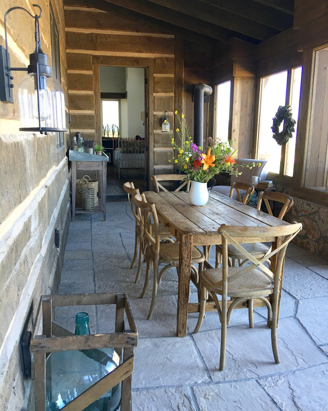 Rustic Porch Stone Flooring. The Stone flooring of this rustic porch is Montana field moss rock. Stone flooring #Stoneflooring #rusticflooring #rusticstonefloor #stonefloor #rustic porch Home Bunch's Beautiful Homes of Instagram @birdie_farm