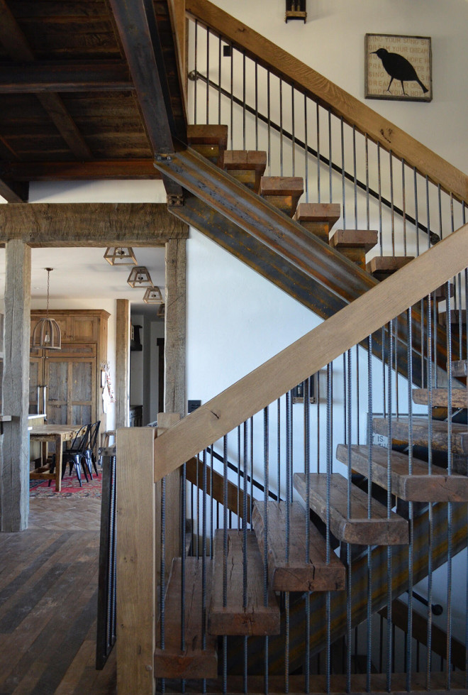 Rustic Staircase. This rustic staircase feature reclaimed wood timber steps and iron banisters. #Rusticstaircase #rusticstaircaseideas #reclaimedwood #timbersteps #ironbanisters Home Bunch's Beautiful Homes of Instagram @birdie_farm