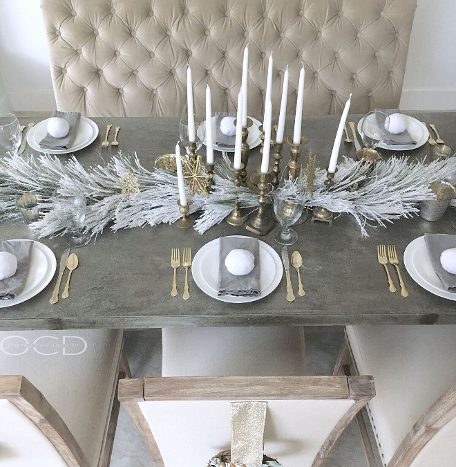 Silver and brass Christmas table decor. Silver and brass Christmas table decor. <Silver and brass Christmas table decor>#Silverandbrass #Christmastabledecor Beautiful Homes of Instagram organizecleandecorate