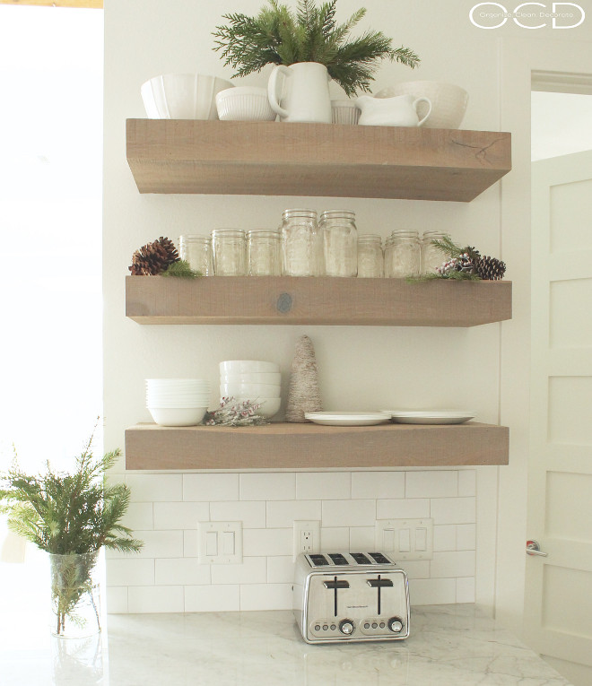 Thick Wood Shelves. Chunky Kitchen Shelves. Thick Wood Kitchen Shelves. Chunky Kitchen Shelves. Thick Wood Kitchen Shelf. Thick Wood Kitchen Shelves. #ChunkyKitchenShelves #ChunkyKitchenShelf #ThickWoodShelves Beautiful Homes of Instagram organizecleandecorate