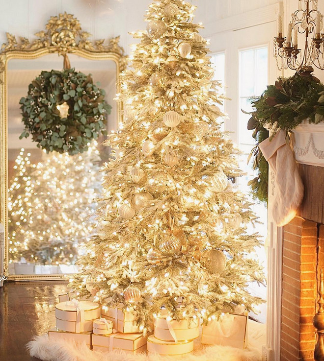 Warm white light frosted Christmas tree ideas. Warm white light frosted Christmas tree. Warm white light frosted Christmas tree ideas. Warm white light frosted Christmas tree ideas #Warmwhitelight #frostedChristmastree #frostedChristmastreeideas French Country Cottage via Instagram @frenchcountrycottage