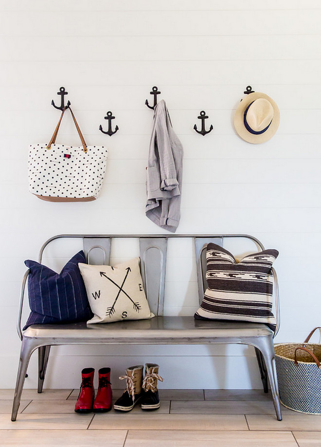 Anchor Hooks. Mudroom with shiplap walls and anchor hooks. #AnchorHooks #Anchor #Hooks Timberidge Custom Homes