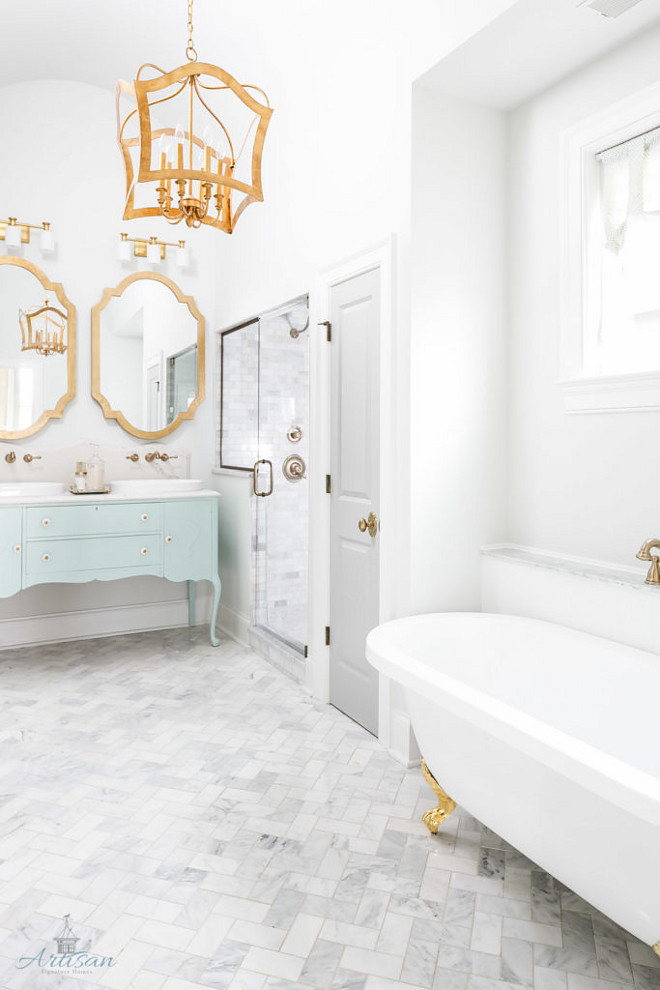 Aqua and gray bathroom. Aqua and gray bathroom. Grey bathroom with aqua vanity. #Aquabathroom #aquavanity #graybathroom Artisan Signature Homes. Interiors by Gretchen Black.