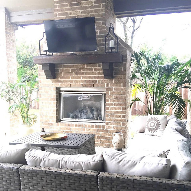 Back Porch. Back Porch with brick fireplace and timber mantel. Back Porch #BackPorch #Porch #brickfireplace #timbermantel
