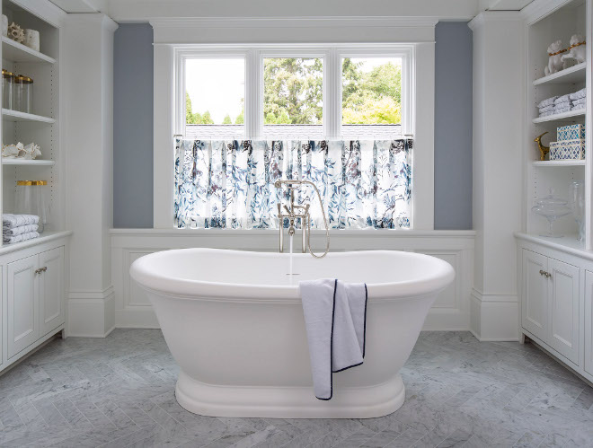 Bath nook. A freestanding bath is tucked away in a nook with built-in cabinets on both sides. Bath nook with buit-ins. Built in bath nook. Bathroom built ins. #Bathnook #Bathrnookbuiltin #bath #nook #builtins #Bathroombuiltins Martha O'Hara Interiors