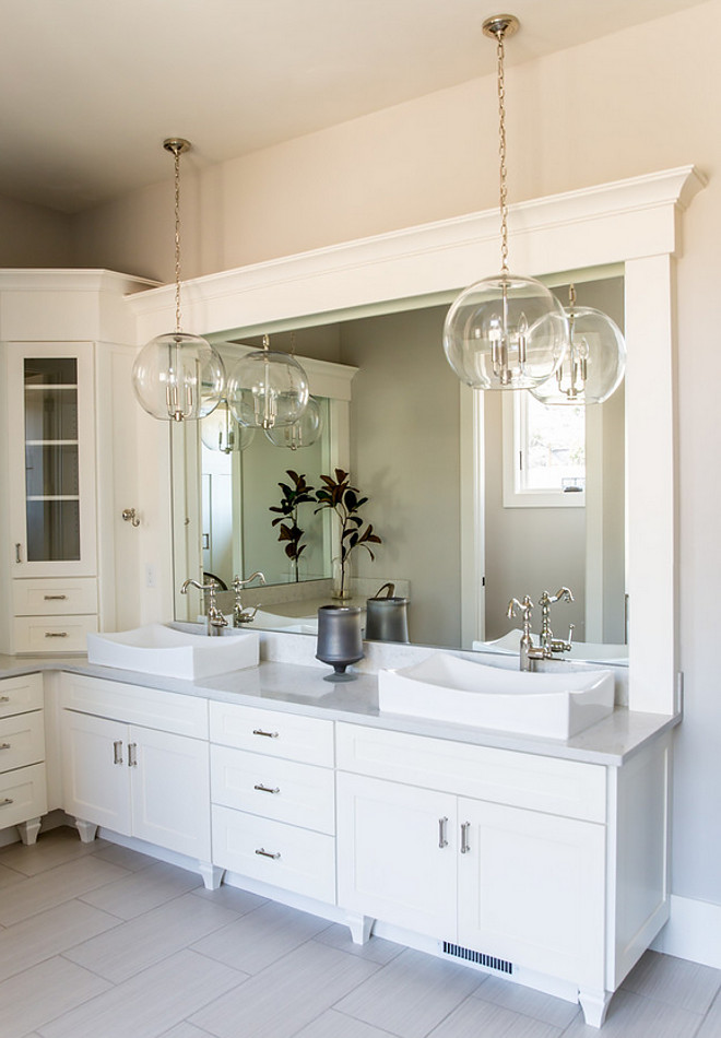 Bathroom Pendant Light. Bathroom Pendant Lighting. Instead of using sconces, why not go for pendants? These are from Shades of Light. Bathroom Pendant Light instead of sconces. Bathroom Pendant Light #Bathroom #PendantLight Timberidge Custom Homes