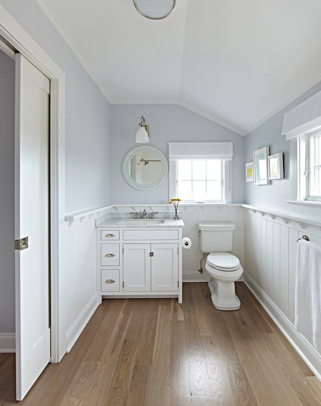 Bathroom Wood Floor And Wainscoting The Master Features Wide Plank Solid White Oak Hardwood