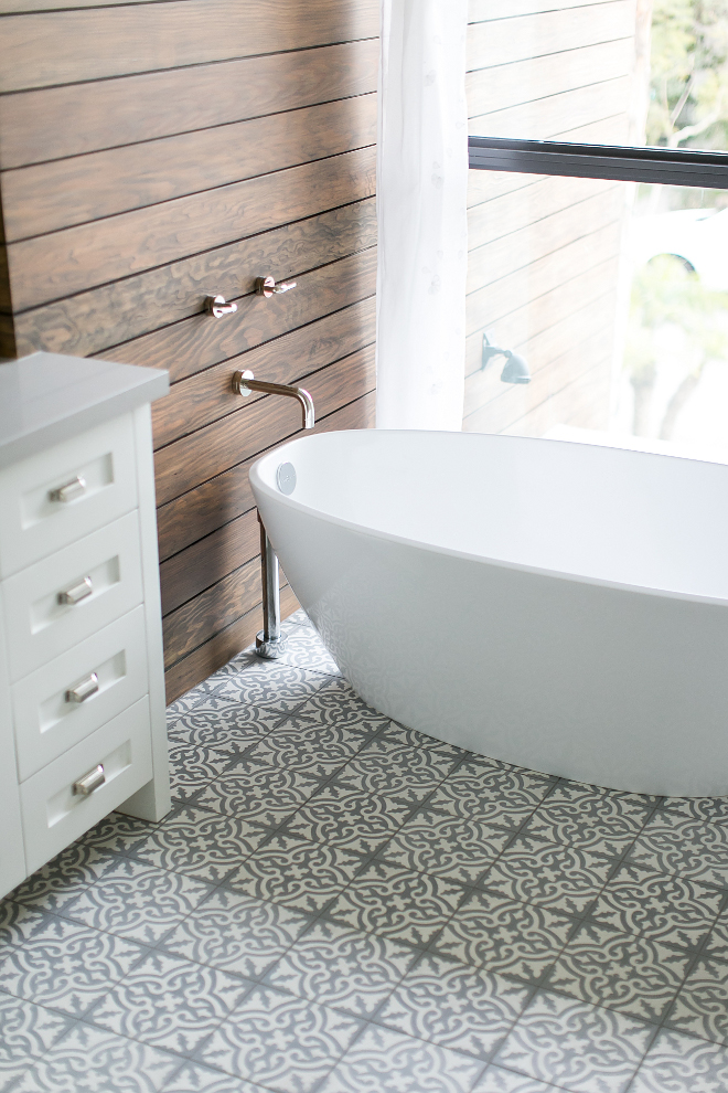 Bathroom cement tile, stained shiplap walls, freestanding bath and wall-mount tub filler. #Bathroom #cementtile #stainedshiplap #stainedshiplapwalls #freestandingbath #wallmounttubfiller Patterson Custom Homes