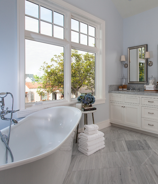 Bathroom. The floor tile is Solto White Marble. Master Bathroom #masterbathroom Brandon Architects, Inc.