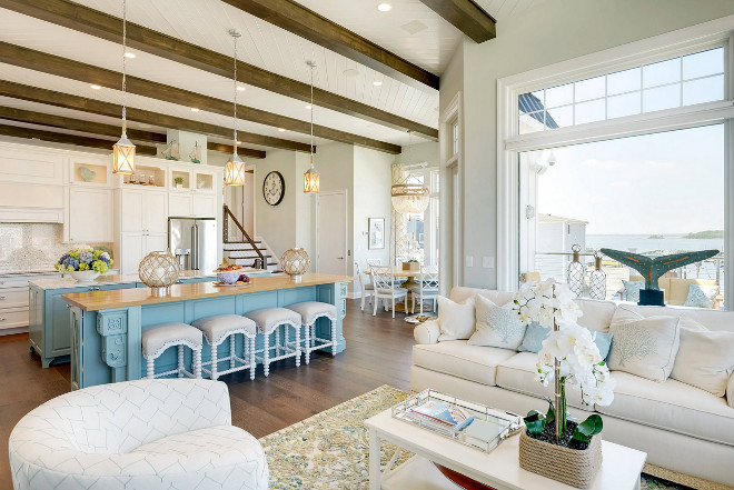 Beach House Kitchen. Beach House Kitchen with turquoise kitchen island. Beach House Kitchen. Beach House Kitchen #BeachHouseKitchen #BeachHouse #Kitchen Echelon Interiors