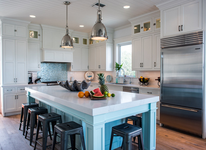 Beachy Coastal White Kitchen with Driftwood Floors. Beachy Coastal White Kitchen with Driftwood Floors #BeachyCoastalWhiteKitchen #CoastalWhiteKitchen #WhiteKitchen #DriftwoodFloors The Driftwood Floors are by Du Chateau in St. Moritz Waterview Kitchens
