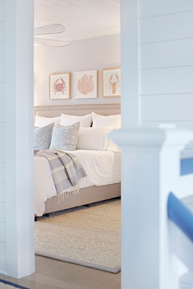 Bedroom Color Scheme. Neutral, soft Bedroom Color Scheme. Benjamin Moore Mountainscape 870 The master bedroom features a soft color scheme that invites you in. Notice the sisal rug. Bedroom Color Scheme. Neutral Bedroom Color Scheme. Soft Bedroom Color Scheme #BedroomColorScheme #Bedroom #ColorScheme #NeutralColorScheme #SoftColorScheme Chango & Co.
