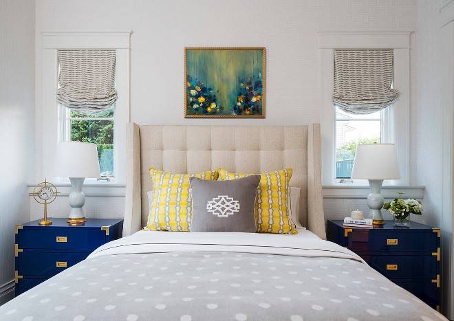 Bedroom color palette inspiration. Pale grey bedroom with navy and yellow accents. Pale grey bedroom with navy and yellow color palette. Bedroom color palette #Bedroomcolorpalette #Bedroomcolorpaletteinspiration #Bedroom #colorpalette #Palegreybedroom #greybedroom #navyandyellow #accentcolor Martha O'Hara Interiors