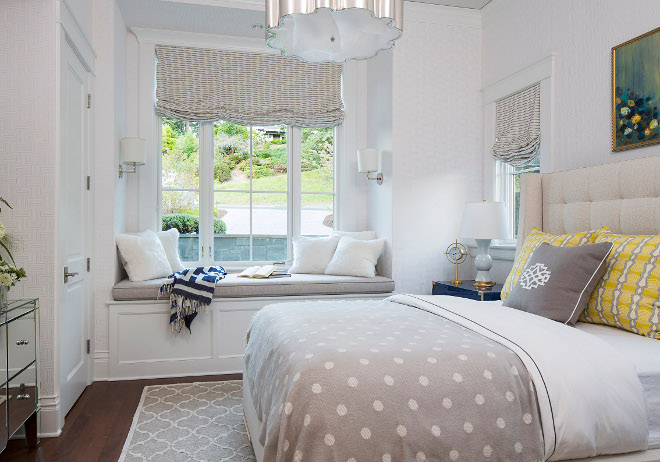 Bedroom with window seat. Bedroom with window seat and wallpaper. Bedroom with window seat. Bedroom with window seat. #Bedroomwindowseat #Bedroom #windowseat Martha O'Hara Interiors