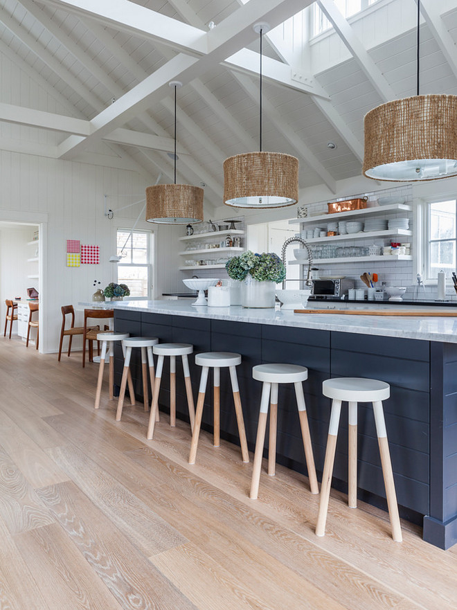 Benjamin Moore Hale Navy Shiplap Kitchen Island. Benjamin Moore Hale Navy Shiplap Kitchen Island Design. Navy island with shiplap painted in Benjamin Moore Hale Navy. #BenjaminMooreHaleNavy #ShiplapKitchenIsland Krueger Architects