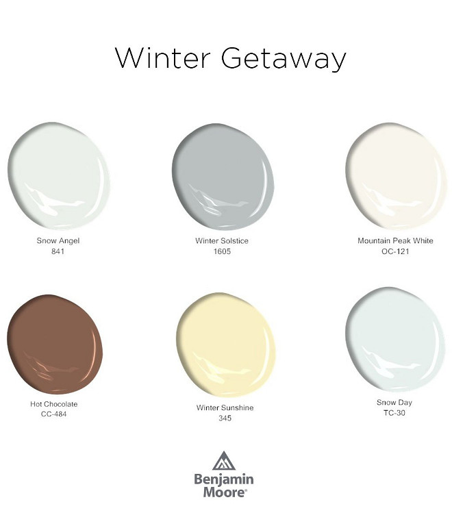 Benjamin Moore Paint Colors. New Benjamin Moore Paint Colors. Escape Winter Blues with these Benjamin Moore Paint Colors. Benjamin Moore 841 Snow Angel. Benjamin Moore 1605 Winter Solstice. Benjamin Moore CC-484 Hot Chocolate. Benjamin Moore 345 Winter Sunshine. Benjamin Moore TC-30 Snow Day #BenjaminMoore #PaintColors #BenjaminMoorePaintColors #NewBenjaminMoorePaintColors #BenjaminMoore841SnowAngel #BenjaminMoore1605WinterSolstice #BenjaminMooreCC484HotChocolate #BenjaminMoore345WinteSunshine #BenjaminMooreTC30SnowDay Via Benjamin Moore
