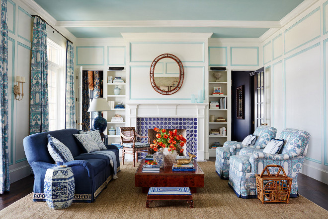 Blue and White Living room with aqua trim. Blue and White Living room with aqua trim and blue ceiling. #BlueandWhite #Livingroom #aquatrim #BlueandWhiteLivingroom #Blueceiling Andrew Howard Interior Design
