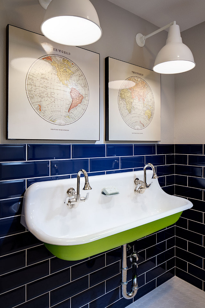 Boys bathroom with Indigo subway tile and Kohler Brockway Sink. Vintage inspired bathroom with a pop of color - indigo subyway tile. #Boysbathroom #Indigosubwaytile #KohlerBrockwaySink Tracy Lynn Studio.