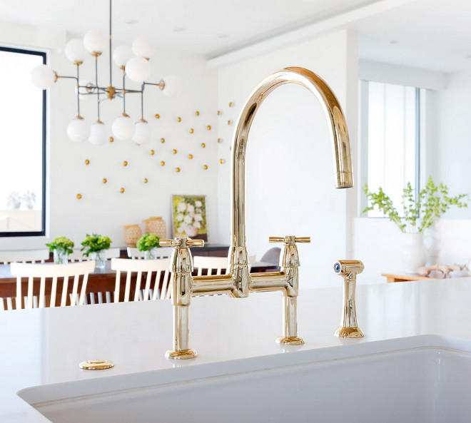 Brass Faucet. Faucet is a custom finish from Rohl. #BrassFaucet #Brasskitchenfaucet #kitchenfaucet Denton Developments. Amy Bartlam Photography.