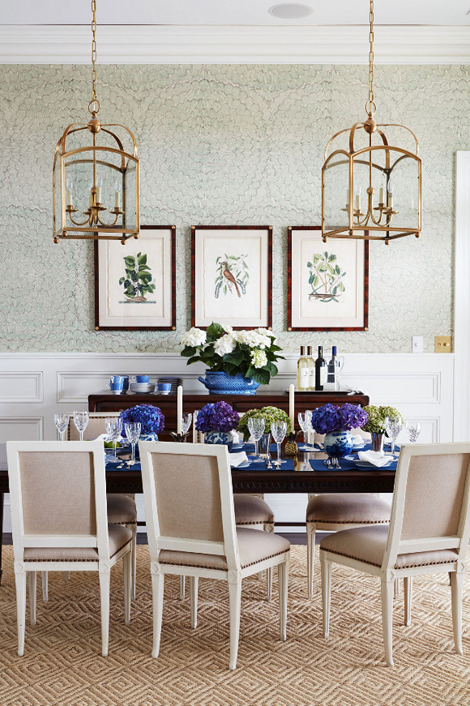 Brass Lanterns over Dining Table. Brass Lanterns over Dining Table. Brass Lanterns over Dining Table. The dining room features a classy wallpaper and a pair of brass lanterns over the table. The brass lanterns are by Circa Lighting. #BrassLanterns #DiningTable Andrew Howard Interior Design