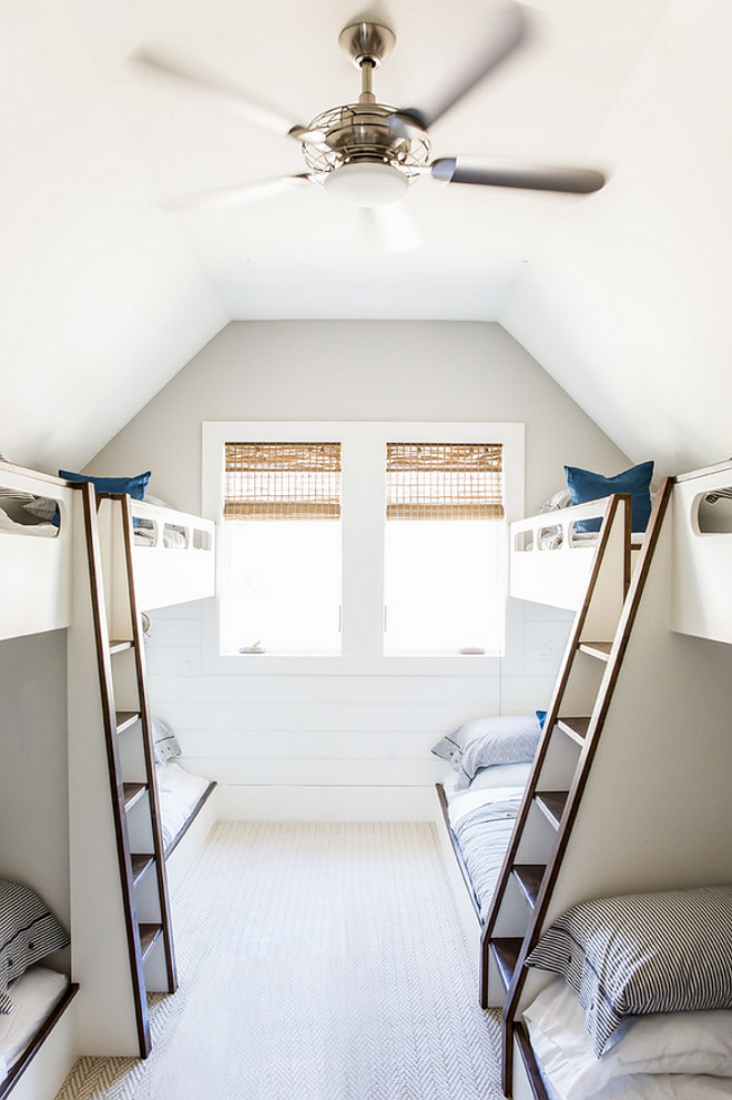 Bunk room with eight bunk beds and built in ladders between bunk beds. Bunk room with eight bunk beds and built in ladders between bunk bed ideas #Bunkroom #eightbunkbeds #builtinladders #bunkbedladders Timberidge Custom Homes