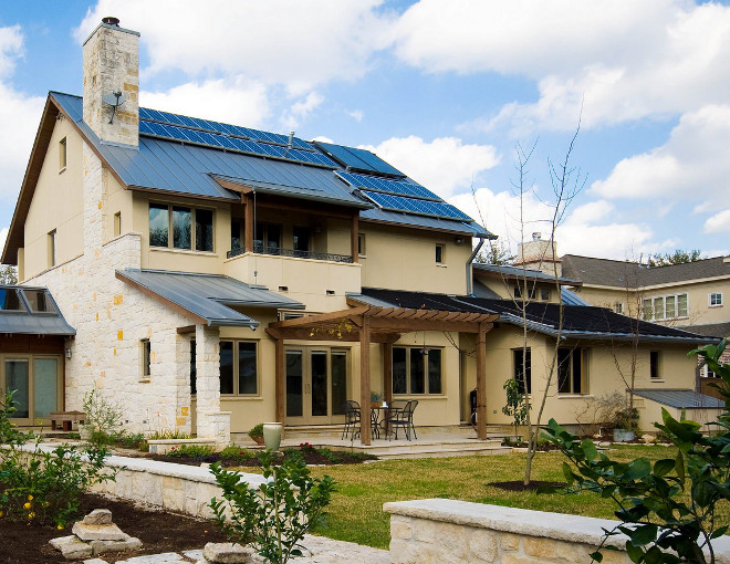 Home with Home with Electric solar system, solar hot water heater, solar pool heater and geothermal A/C system. RD Architecture, LLC.