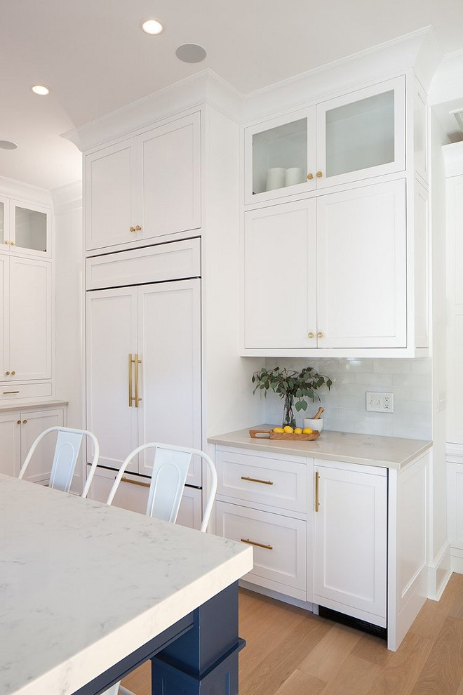 Cabinet beside fridge. Cabinet beside fridge layout. Countertop is marble-looking quartz countertop. Backsplash is from Artistic Tile. Cabinet beside fridge ideas #Cabinet #fridge Victoria Balson Interiors