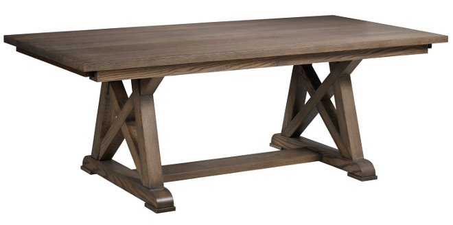 Dining Table: Canal Dover Furniture - Arvada Table. $$ Available in sizes: 42 inches - 48 inches Width x 66 inches - 84 inches Length (6 inches increments). Leaves: 18 inches leaf on each end. Species: Oak, Brown Maple, Cherry, Maple, Quartersawn White Oak.
