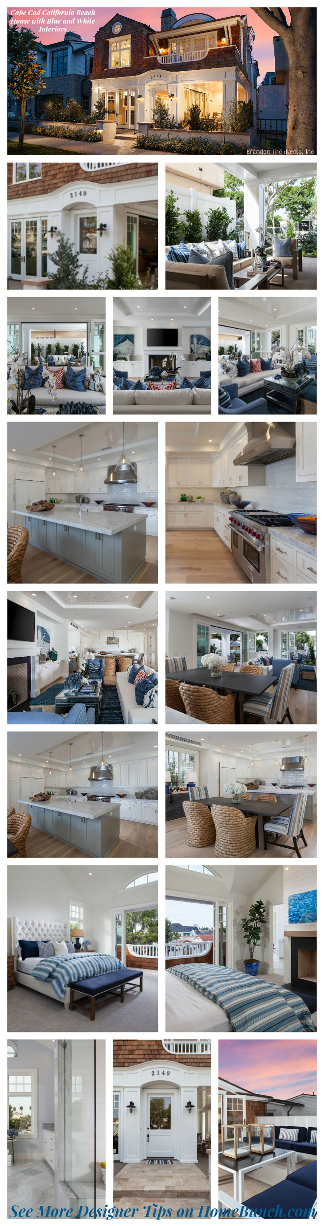 Cape Cod California Beach House with Blue and White Interiors. Cape Cod California Beach House with Blue and White Interior ideas #CapeCod #California #BeachHouse #BlueandWhiteInteriors